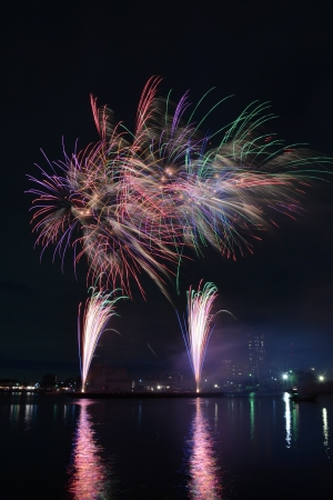 This Is One Of Japans Featured Summer Firework Festivals Held At Funabashi The Event Draws In Around 80000 People As Part A Special Program To