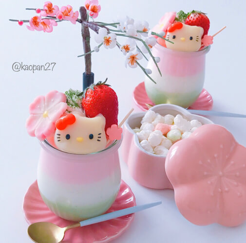 """Character dessert"" recipe! ""KITTY Chan's 3-layered milk pudding"