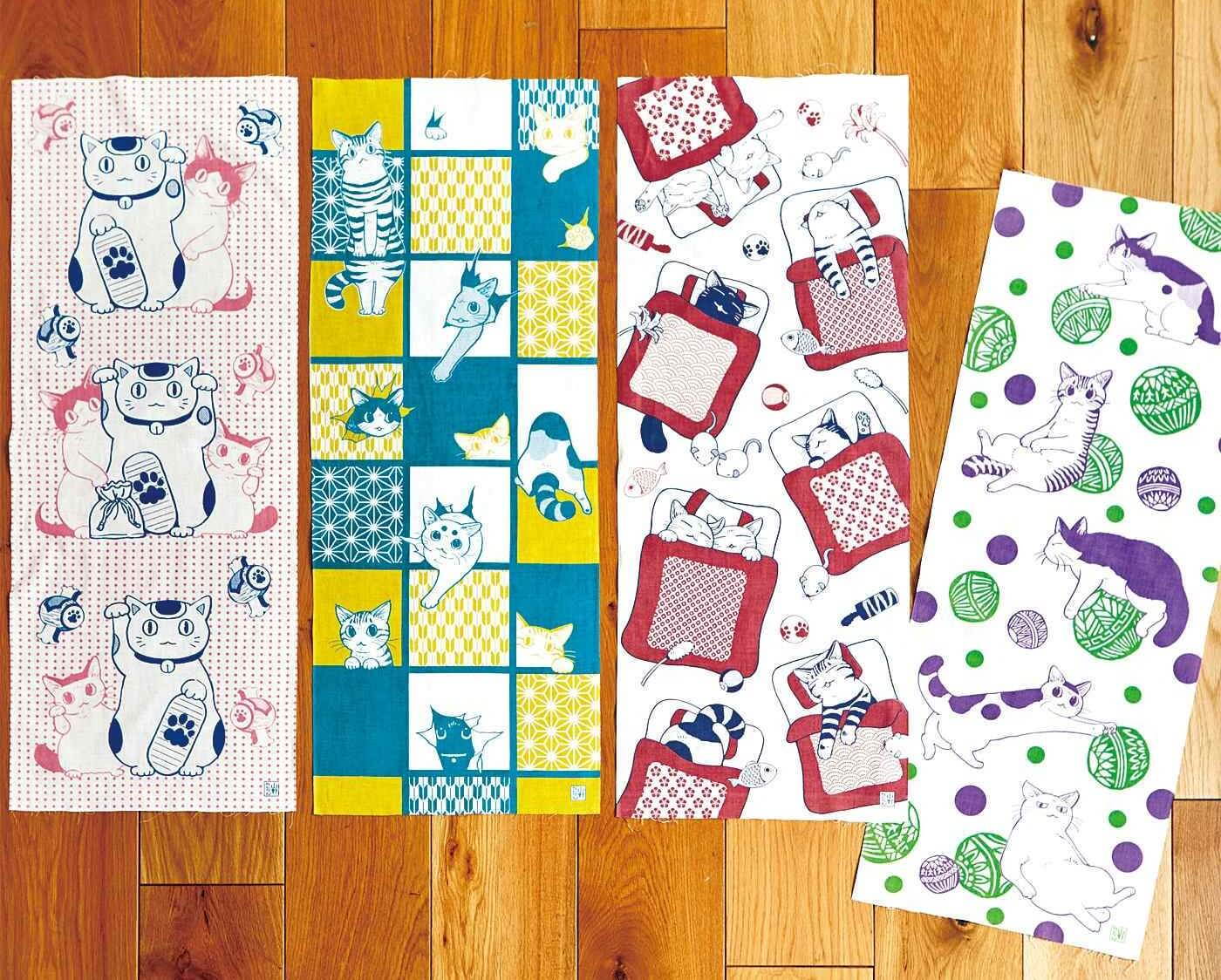 Cat Hand Towels with Traditional Japanese Designs Released from Felissimo Neko-bu