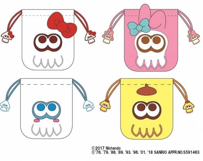 スプラトゥーン2 × サンリオキャラクターズ 巾着 イカ キティ マイメロ ポムポムプリン シナモロール