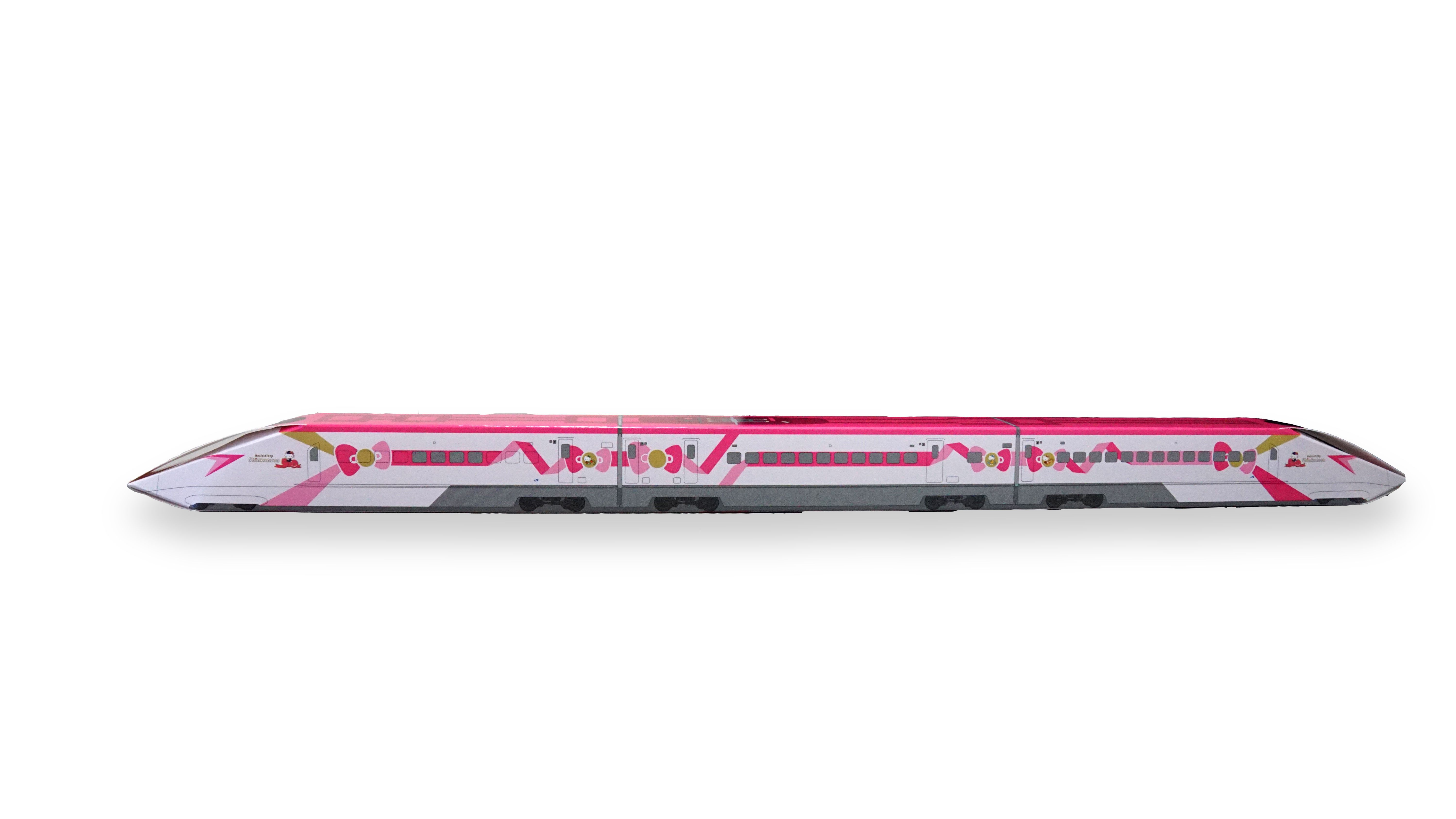 7763bf1d9 The packaging of the German spit cake takes on the design of the first,  seventh and eighth train carriages of the Hello Kitty shinkasen.