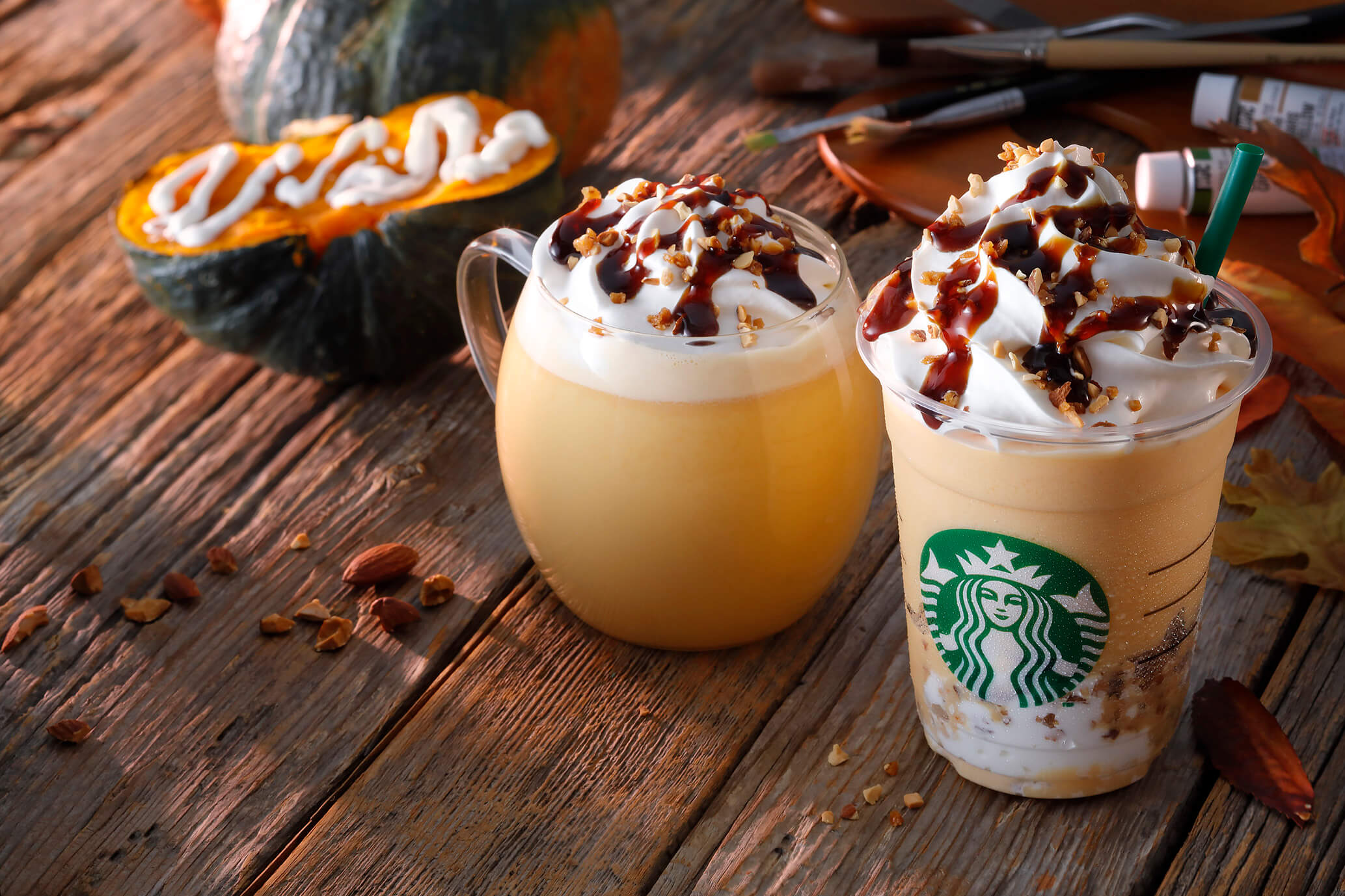 575e2a29d9a Both the Frappuccino® and the hot drink are topped with candied almonds for  added texture which marry perfectly with the pumpkin as well as a bitter  caramel ...