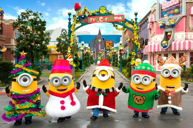 wave to gru and the minions as they come to greet guests for the minion christmas greeting with gru