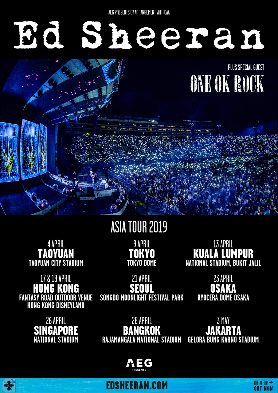 Ed Sheeran Tour 2020.One Ok Rock Support Ed Sheeran On His 2019 Asia Tour Moshi