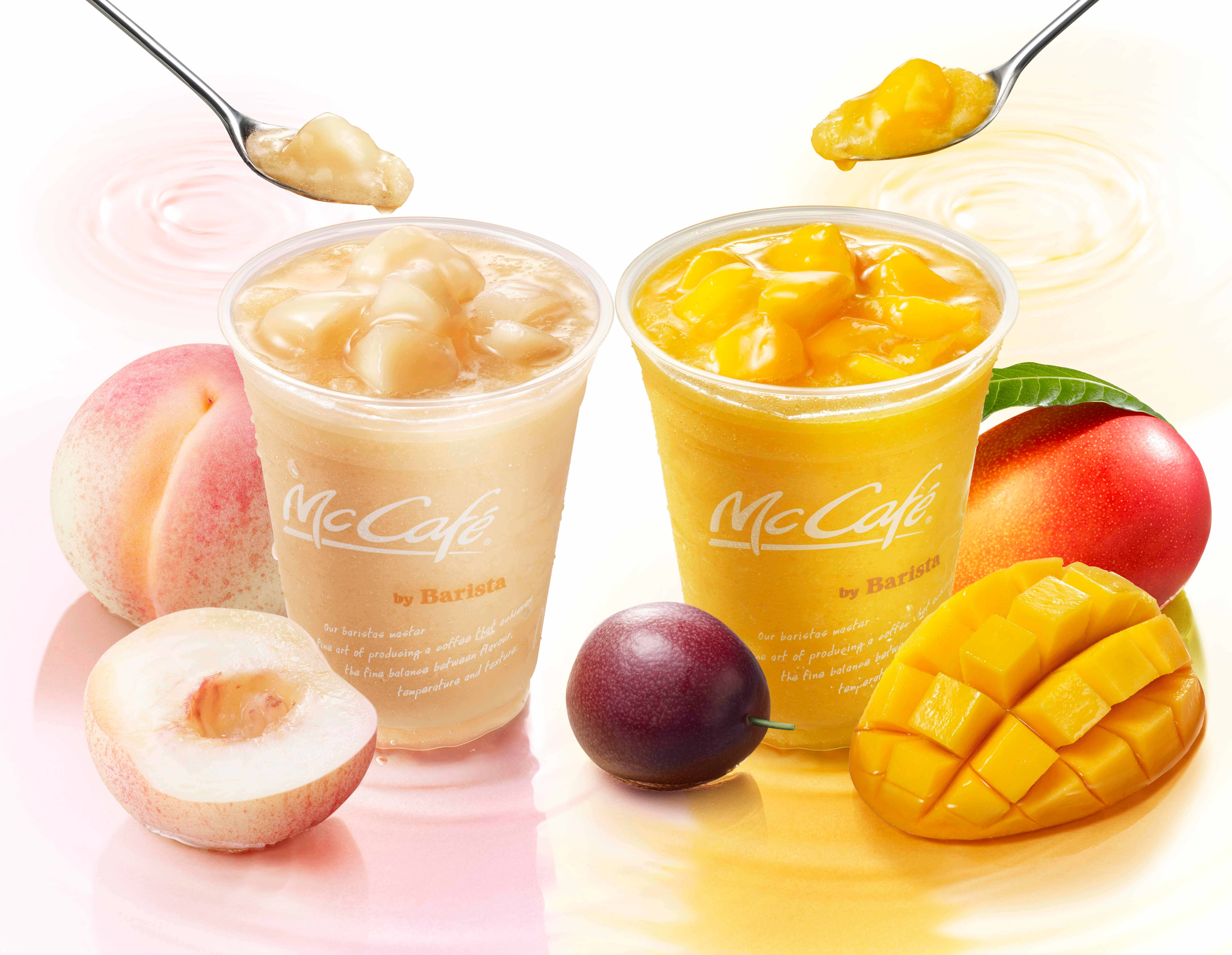 mccafe mcdonald POPバリスタ「桃のスムージー」「マンゴー&パッションフルーツスムージー」 barista peach smoothie mango pashion fruits smootie