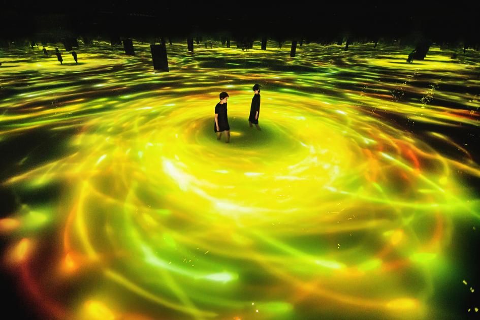 豊洲 観光スポット チームラボプラネッツ Teamlab planet Toyosu spot sightseeing「人と共に踊る鯉によって描かれる水面のドローイング – Infinity」向日葵メイン画像