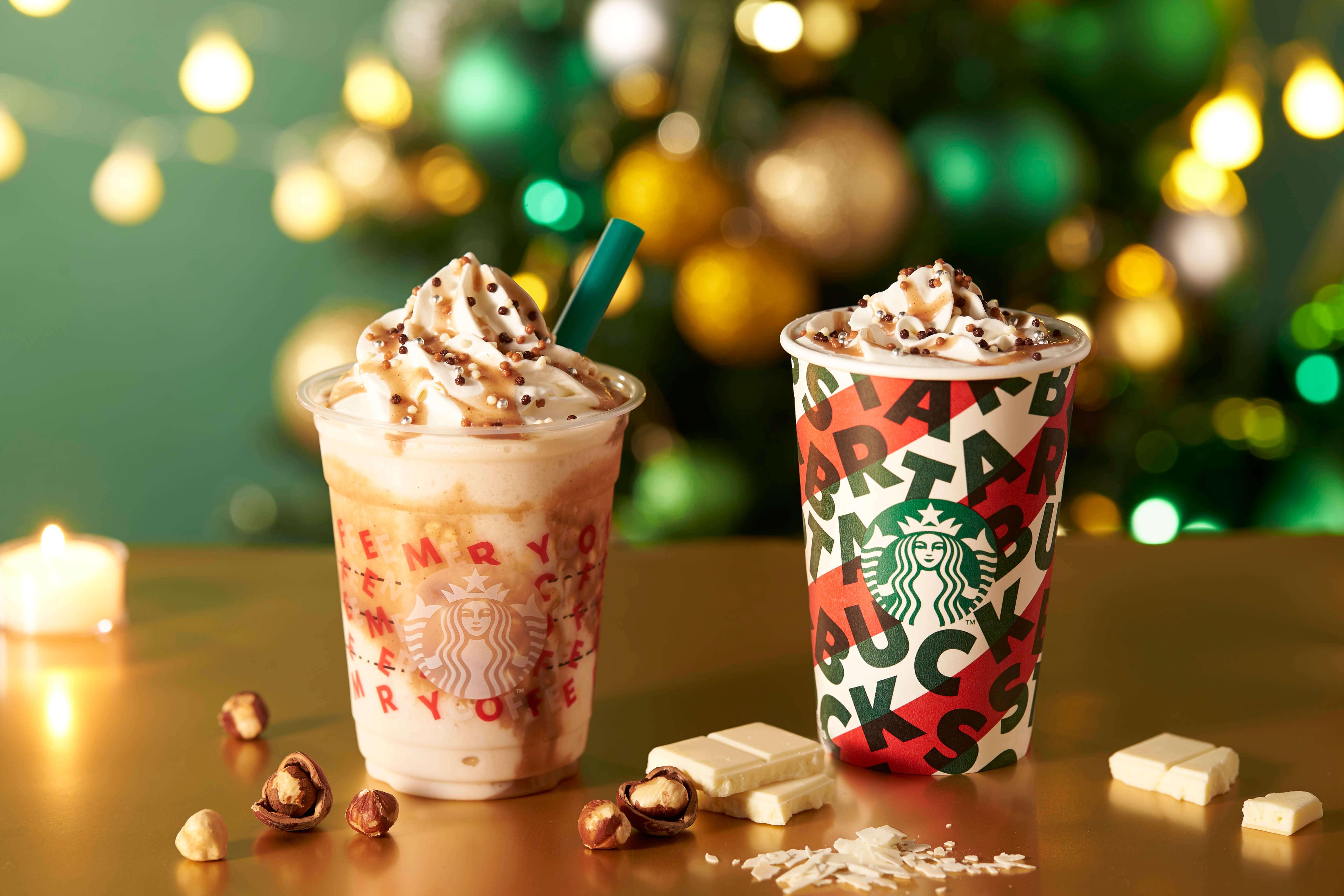 スターバックス Starbucks 「ナッティ_ホワイト_チョコレート_フラペチーノ(R)」「ナッティ_ホワイト_モカ」
