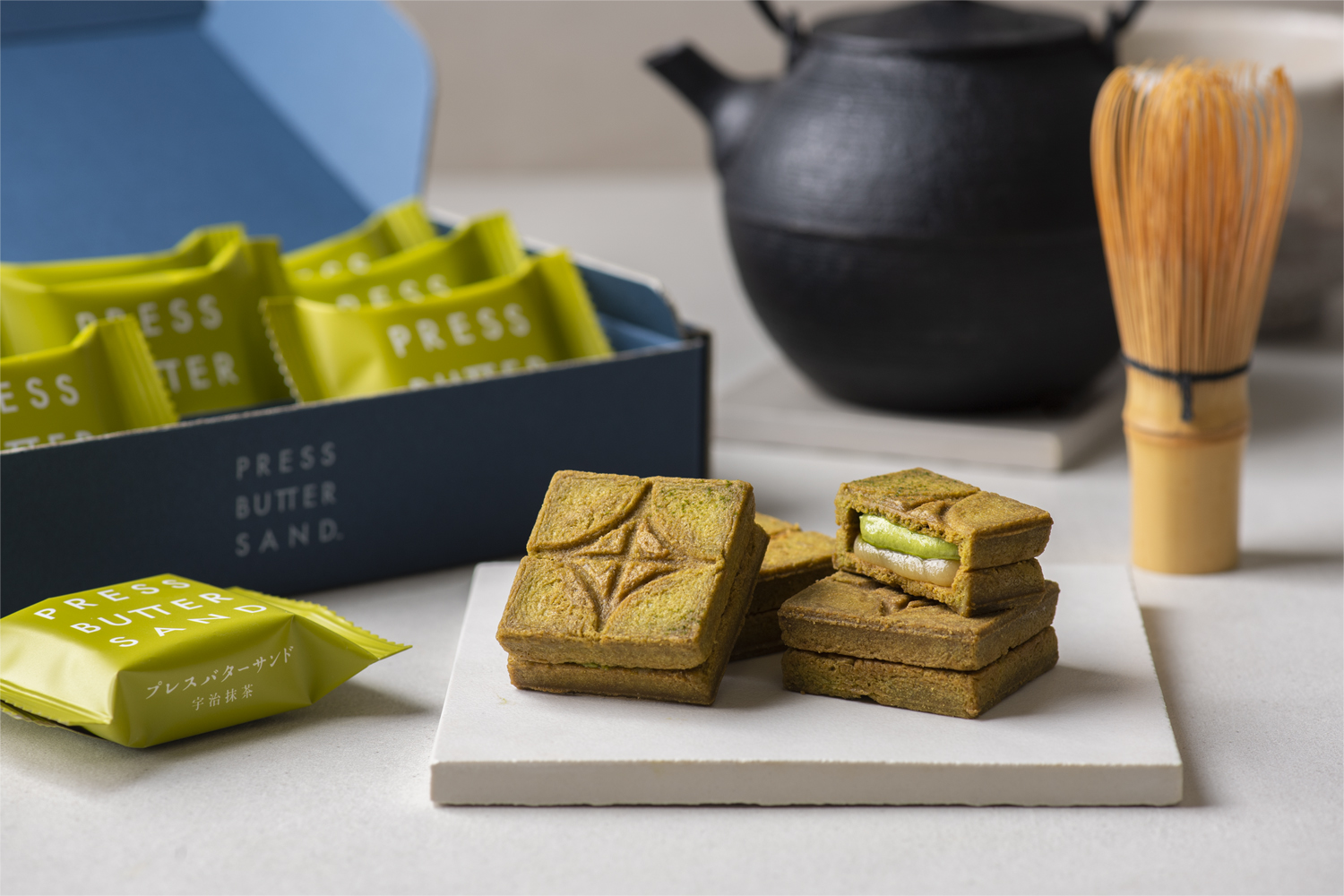 PRESS BUTTER SAND Matcha biscuits