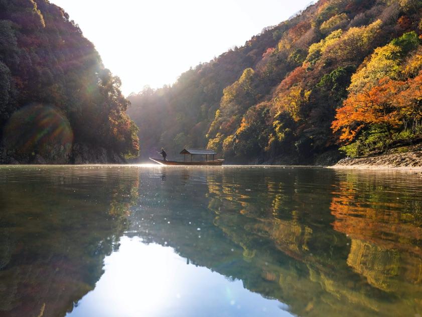 星のや京都 朝のもみじ舟 Autumn Hoshinoya Resorts Kyoto 星野集團京都2