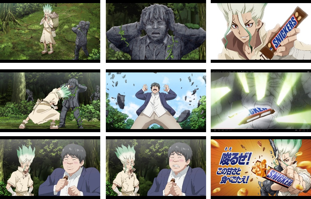 Dr Stone Collaborates With Snickers Chocolate Bar On Tv Commercial Moshi Moshi Nippon Ã''しもしにっぽん