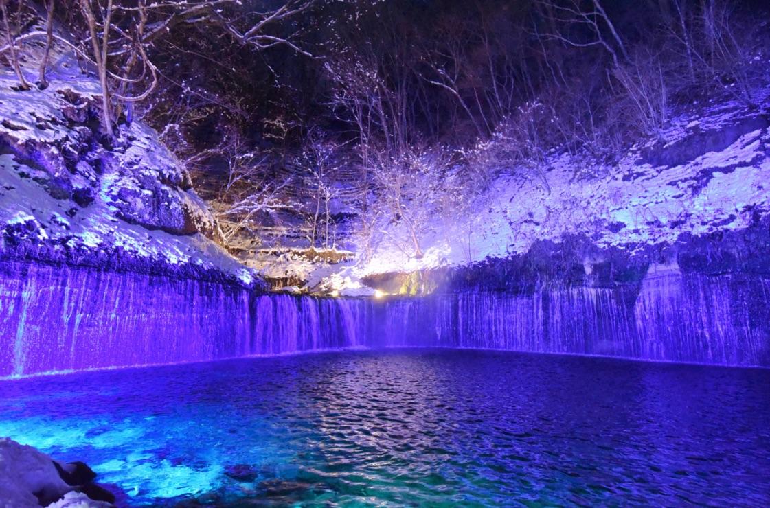 白糸の滝真冬のライトアップ Illumination Karuizawa 軽井沢 光雕投影